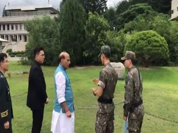 Defence Minister Rajnath Singh visited the historic site where leaders of the two Korean nations had planted a commemorative tree