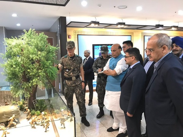 Defence Minister Rajnath Singh visited the Joint Security Area (JSA) in South Korea on Saturday.