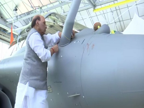 Defence Minister Rajnath Singh performed Shastra Puja after receiving the first of the 36 Rafale jets