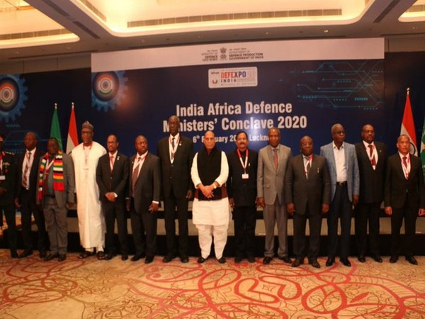 Defence Rajnath Singh with Defence Ministers and heads of delegation from African countries in Lucknow on Thursday. Photo/ANI