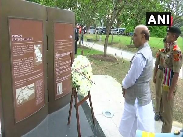 Rajnath Singh at INA memorial in Singapore