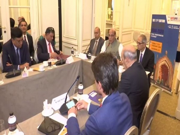 Defence Minister Rajnath Singh Addressing the top CEOs of the French Defence Industry in Paris on Wednesday.