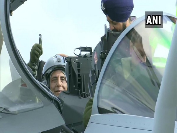 Rajnath Singh takes a sortie on the Rafale fighter jet on Tuesday.