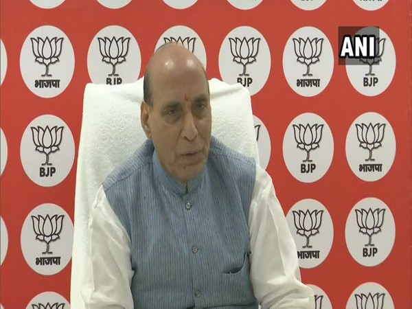 Defence Minister Rajnath Singh interacting with teachers of Bihar via video conferencing on Thursday. (Photo/ANI)