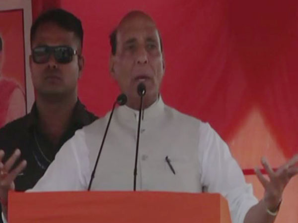 Union Home Minister Rajnath Singh addressing a public rally at Chatra in Jharkhand on Tuesday