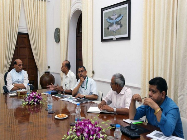 Defence Minister Rajnath in a meeting with officials on defence corridor project in New Delhi on Tuesday.