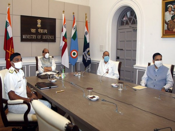 Indian Coast Guard gave a detailed presentation on 'Operation Sagar Aaraksha' to Rajnath Singh on Wednesday. (Photo Source - RMO)