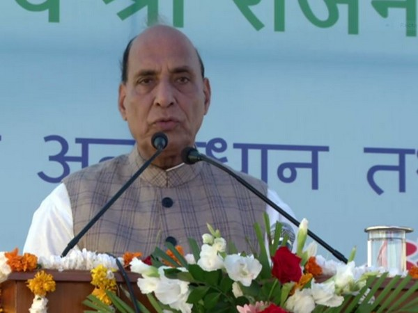 Defence Minister Rajnath Singh speaking at an event at DRDE in Gwalior on Friday