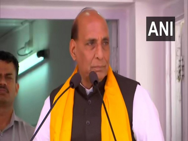 Defence Minister Rajnath Singh speaking at an event in Leh on Thursday