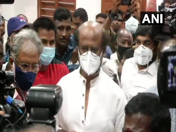 Actor Rajinikanth casts vote at a polling booth in Stella Maris of Thousand Lights constituency. (Photo/ANI)