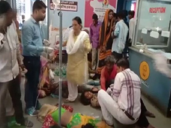 Workers being treated in front of the reception room of Samarnia Hospital in Rajasthan. (Photo/ANI)