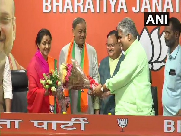 Former Congress MP Sanjay Sinh and his wife Ameeta Sinh joining BJP on Wednesday.