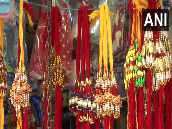Rakhis at a local market. (Photo/ANI)