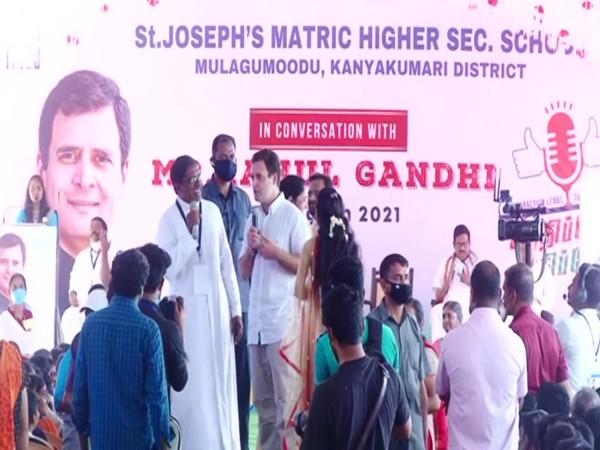 Congress leader Rahul Gandhi interacting with school students in Kanyakumari on Monday.