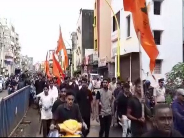 A view of bike rally brought out by Marathi speaking people in Belgaum on Friday. Photo/ANI