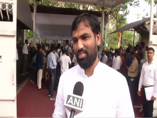 BJP MLA Ram Satpute speaking to ANI in Mumbai on Wednesday. Photo/ANI
