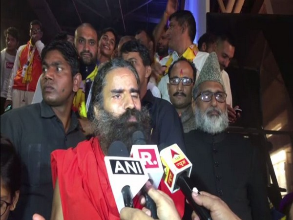 Yoga Guru Baba Ramdev speaks to media in Noida on Saturday [Photo/ANI]