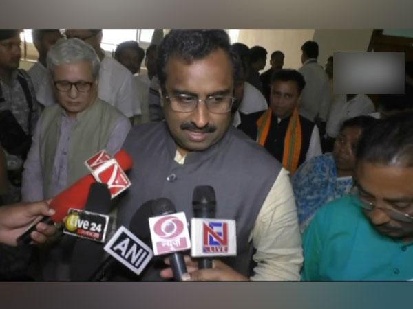 Ram Madhav speaking to the media on Wednesday in Agartala.