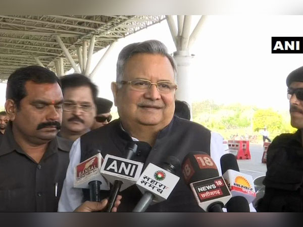 Former CM Raman Singh speaking to reporters in Raipur, Chhattisgarh on Saturday.
