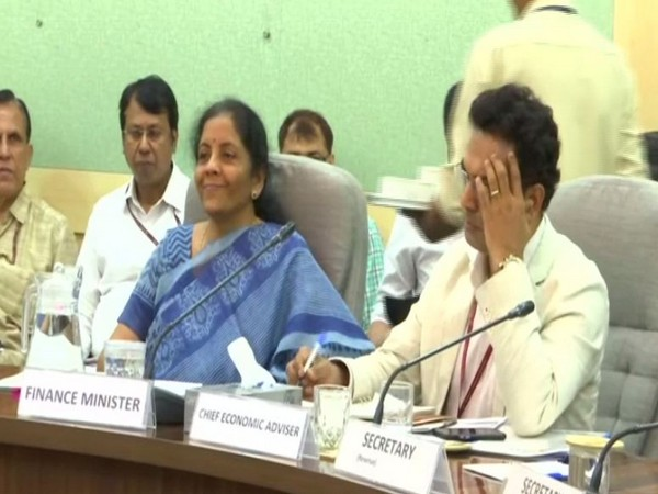 Visuals from the meeting of Finance Minister Nirmala Sitharaman in New Delhi.