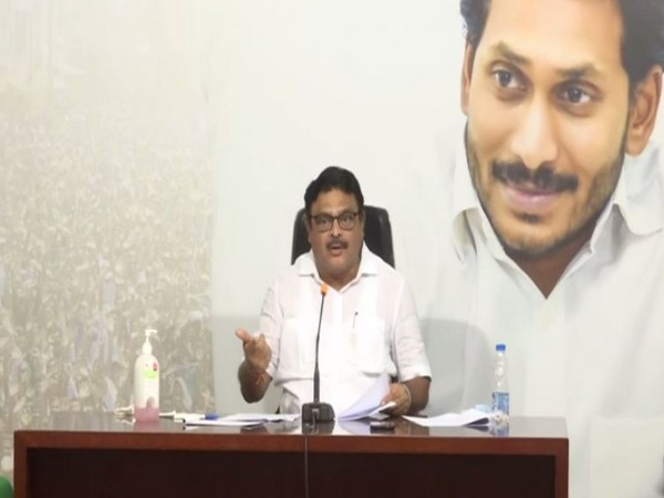 YSRCP leader Ambati Rambabu addressing a press conference on Wednesday in Amaravati. [Photo/ANI]