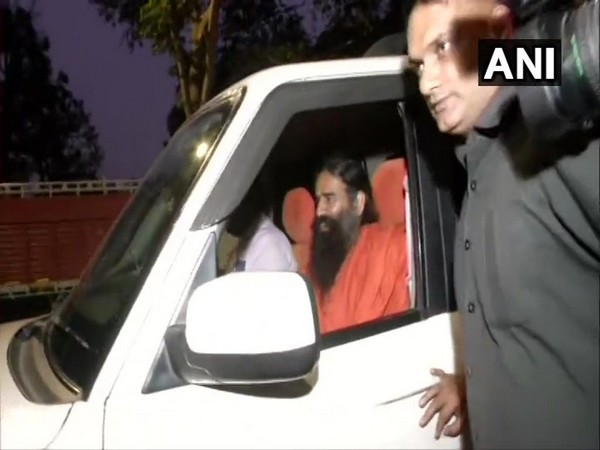 Baba Ramdev leaving NSA Ajit Doval's residence in New Delhi after the meeting on Saturday.