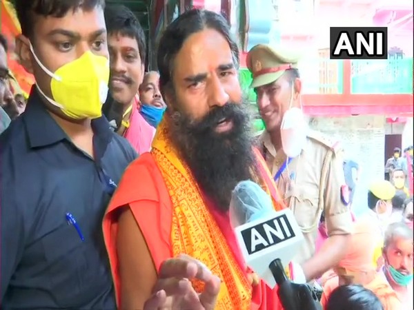 Ramdev speaking to ANI at Hanuman Garhi temple in Ayodhya. (Photo/ANI)