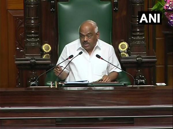Karnataka Assembly Speaker KR Ramesh Kumar speaking at Vidhan Soudha on Friday.