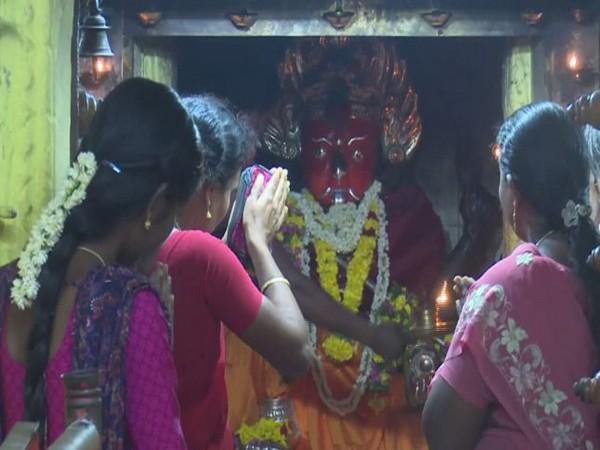 Women devotees offering special prayers at Rameswaram in Tamil Nadu on Friday. Photo/ANI