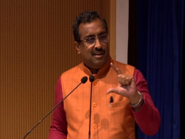 BJP general secretary Ram Madhav speaking at an event in New Delhi on Saturday. Photo/ANI