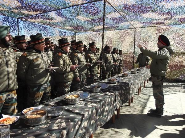 LieutenantGeneral Ranbir Singh interacting with troops in Eastern Ladakh on Tuesday
