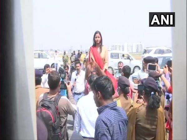 Congress MLA Amba Prasad outside Jharkhand Assembly