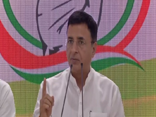 Congress leader Randeep Singh Surjewala speaking at a press conference in New Delhi on August 1. Photo/ANI