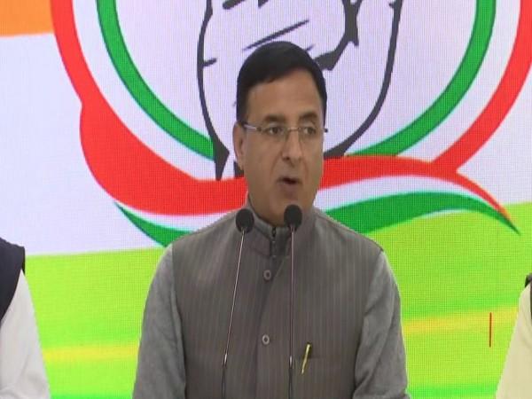 Congress spokesperson Randeep Singh Surjewala addresses a press conference on Thursday [Photo/ANI]