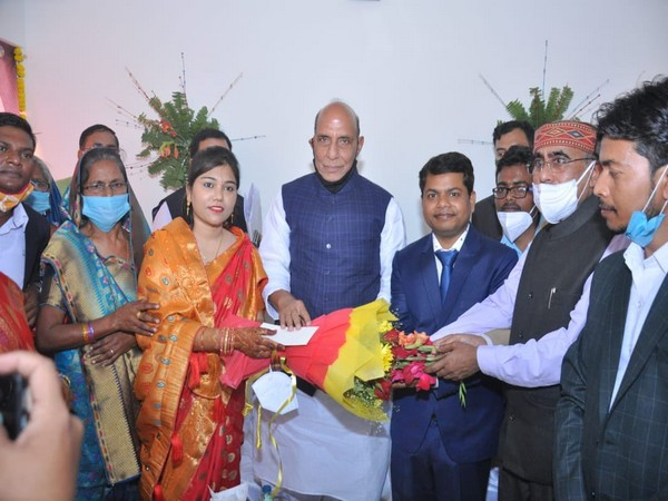 Defence Minister Rajnath Singh attended the marriage function of Dr Brijendra, whose education was supported by him.