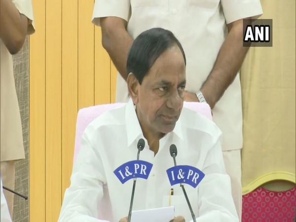 Telangana CM K Chandrashekhar Rao addressing press briefing in Hyderabad on Tuesday