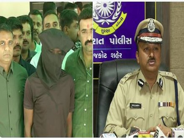 The accused of raping an 8-year-old girl held in Rajkot on Sunday. (Photo/ANI)