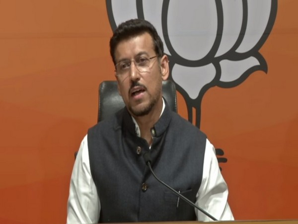 BJP national spokesperson Rajyavardhan Singh Rathore speaking at a press conference on Wednesday.