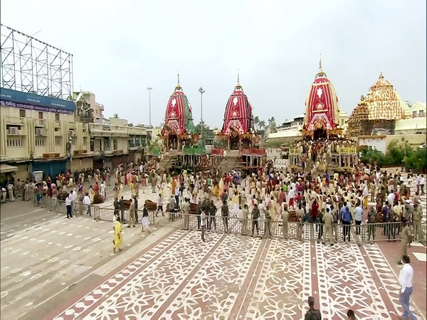 Visual from Jagannath Rath Yatra in Puri on Tuesday.