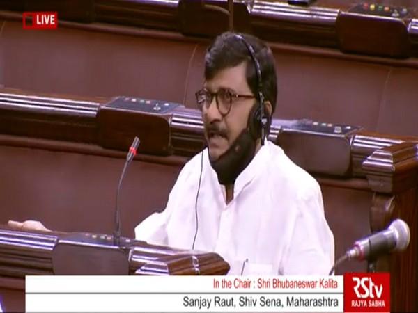 Shiv Sena MP Sanjay Raut in Rajya Sabha on Sunday.