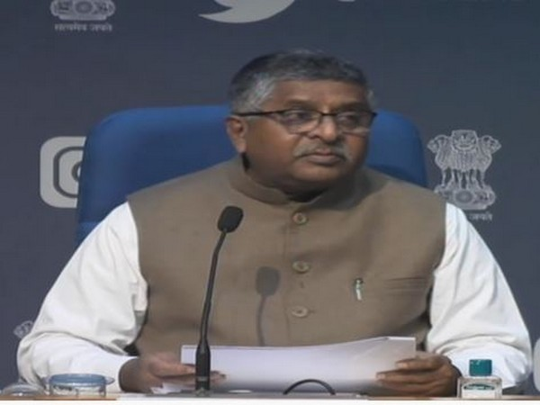 Union Minister Ravi Shankar Prasad during a press briefing in New Delhi on Wednesday. (Photo/ANI)