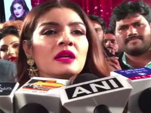 Raveena Tandon speaking to reporters in Indore