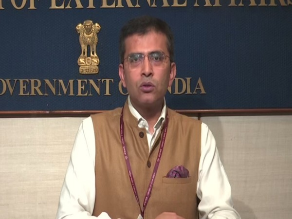 External Affair Ministry spokesperson Raveesh Kumar speaking at a press conference in New Delhi on Wednesday. Photo/ANI