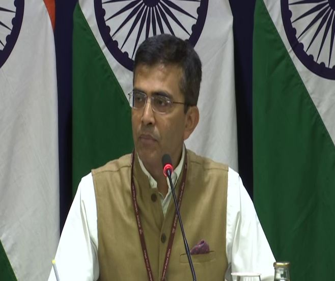 Spokesperson for the Ministry of External Affairs (MEA) Raveesh Kumar speaking at a press conference here on Thursday.