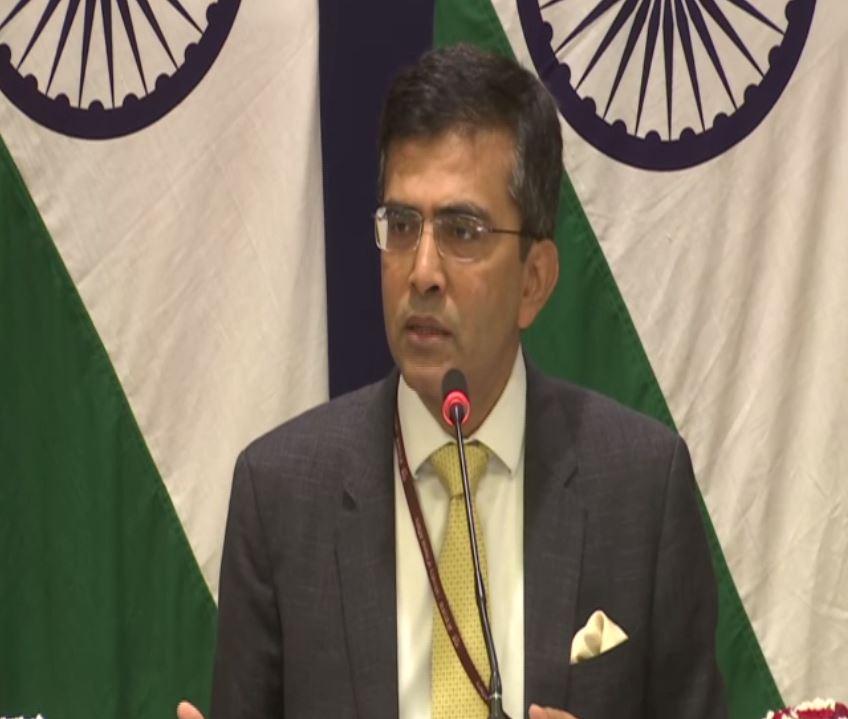 External Affairs Ministry spokesperson Raveesh Kumar addressing a press conference in New Delhi on Thursday