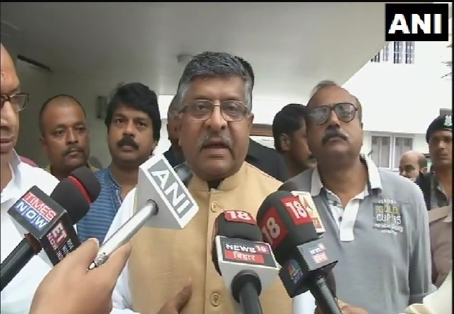 Union Minister Ravi Shankar Prasad speaking to media in Patna, Bihar on Monday.