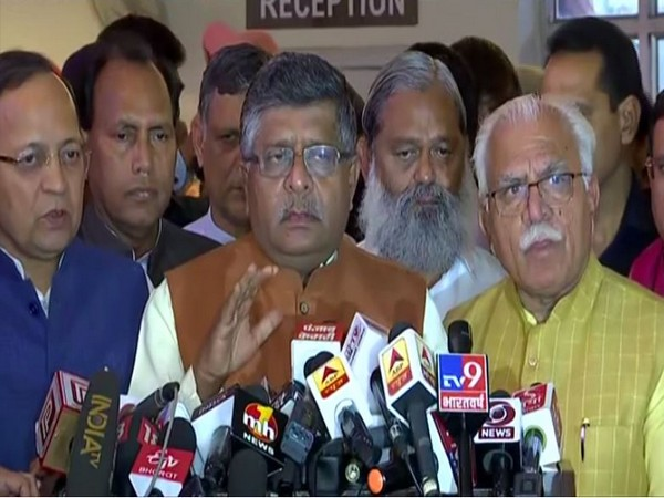 Ravi Shankar Prasad with Manohar Lal Khattar speaks to media in Chandigarh on Saturday [Photo/ANI]