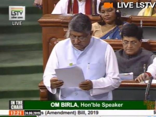 Communications, Electronics and Information Technology Minister Ravi Shankar Prasad (Photo courtsey: Lok Sabha)