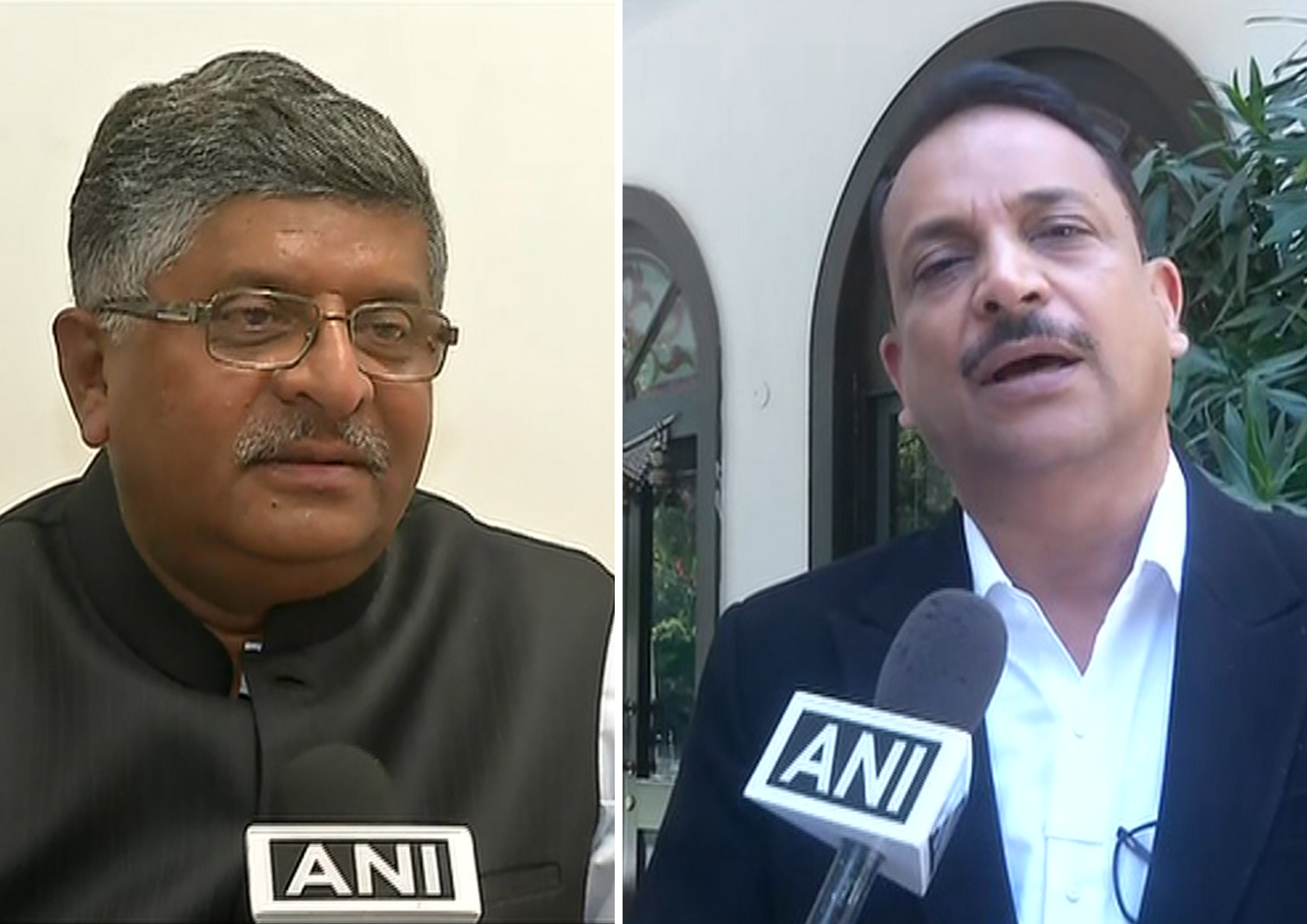 Union Minister Ravi Shankar Pradesh (L) and BJP MP Rajiv Pratap Rudy (R) is speaking to ANI in Delhi on Saturday.