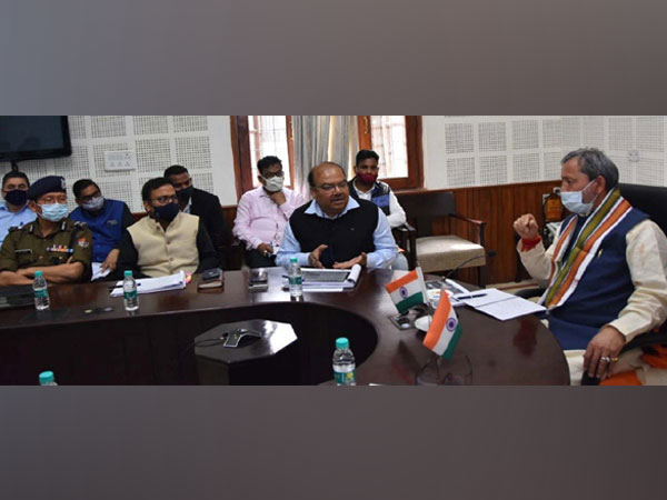 Uttarakhand CM Tirath Singh Rawat at the review meeting today.